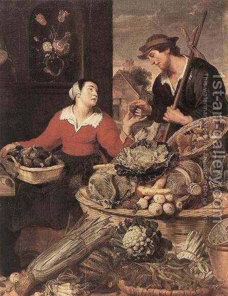 Fruit and Vegetable Stall (detail) by Frans Snyders - Reproduction Oil Painting