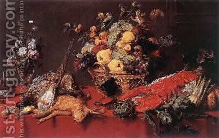 Still-life with a Basket of Fruit 1635-40 by Frans Snyders - Reproduction Oil Painting