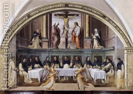 St Dominic and his Friars Fed by Angels 1536, Fresco by Giovanni Antonio Sogliani - Reproduction Oil Painting