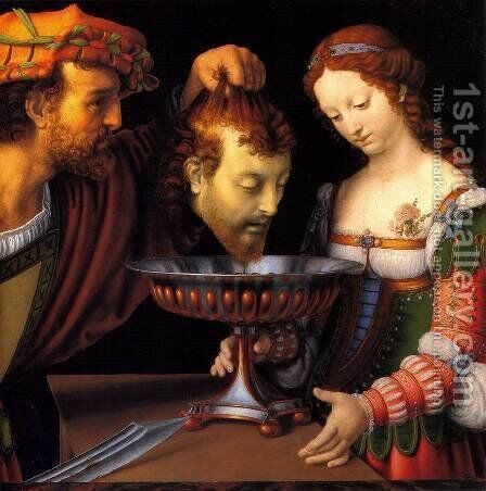 Salome with the Head of St John the Baptist by Andrea Solari - Reproduction Oil Painting