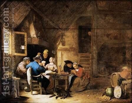 Interior with Peasants Playing Cards by Hendrick Maertensz. Sorch (see Sorgh) - Reproduction Oil Painting