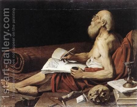 St Jerome 1610s by Lionello Spada - Reproduction Oil Painting