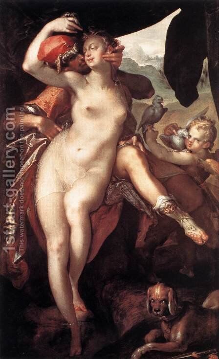 Venus and Adonis 1597 by Bartholomaeus Spranger - Reproduction Oil Painting