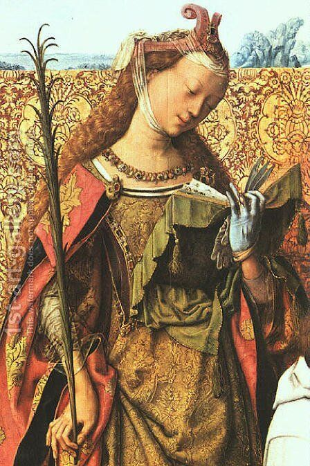 St. Agnes by Master of the St. Bartholomew Altarpiece - Reproduction Oil Painting
