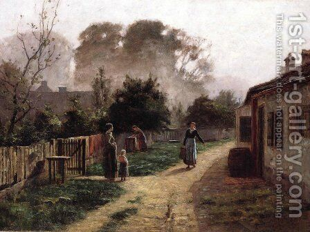 Village Scene 1885 by Theodore Clement Steele - Reproduction Oil Painting