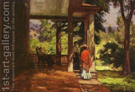 Women on the Porch 1899 by Theodore Clement Steele - Reproduction Oil Painting