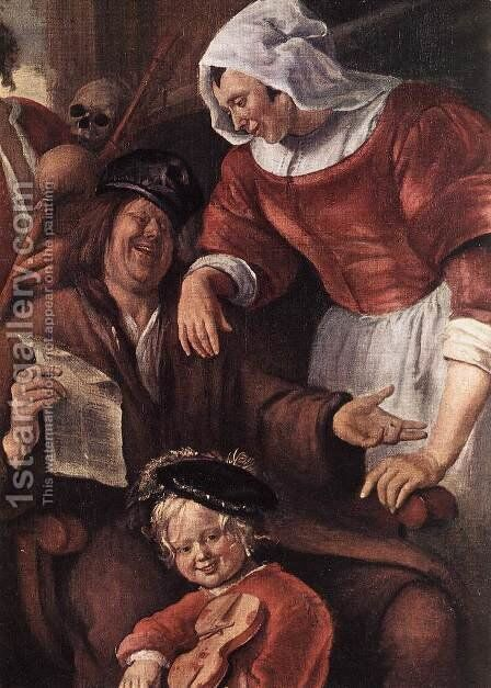 A Merry Party (detail-1) c. 1660 by Jan Steen - Reproduction Oil Painting