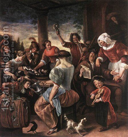 A Merry Party c. 1660 by Jan Steen - Reproduction Oil Painting