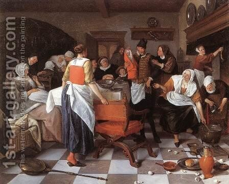 Celebrating the Birth 1664 by Jan Steen - Reproduction Oil Painting