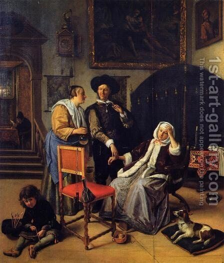 Doctor's Visit 1658-62 by Jan Steen - Reproduction Oil Painting