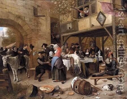 Feast of the Chamber of Rhetoricians near a Town-Gate by Jan Steen - Reproduction Oil Painting