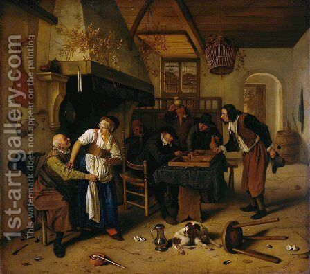 In the Tavern 1660s by Jan Steen - Reproduction Oil Painting