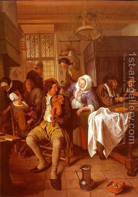 Inn with Violinist and Card Players 1665-68 by Jan Steen - Reproduction Oil Painting