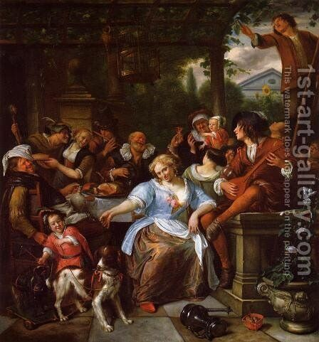 Merry Company on a Terrace by Jan Steen - Reproduction Oil Painting