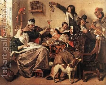 The Artist's Family c. 1663 by Jan Steen - Reproduction Oil Painting