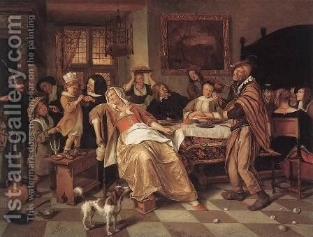 The Bean Feast 1668 by Jan Steen - Reproduction Oil Painting