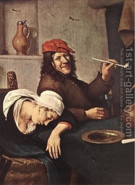 The Drinker (detail) c. 1660 by Jan Steen - Reproduction Oil Painting