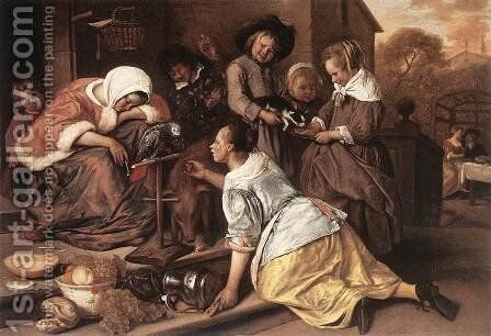 The Effects of Intemperance 1663-65 by Jan Steen - Reproduction Oil Painting