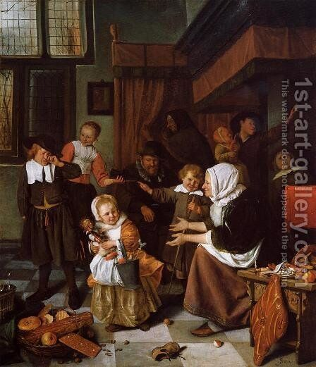 The Feast of St. Nicholas 1665-68 by Jan Steen - Reproduction Oil Painting