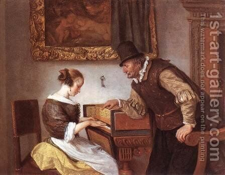 The Harpsichord Lesson c. 1660 by Jan Steen - Reproduction Oil Painting