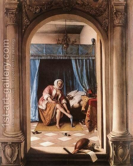 The Morning Toilet 1663 by Jan Steen - Reproduction Oil Painting