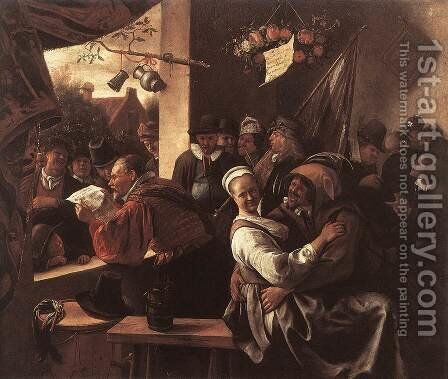 "The Rhetoricians - ""In liefde vrij"" 1665-68 by Jan Steen - Reproduction Oil Painting"