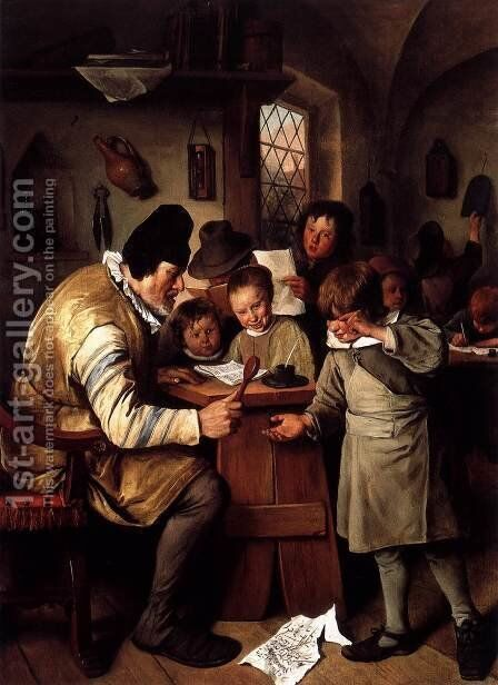 The Schoolmaster 1663-65 by Jan Steen - Reproduction Oil Painting