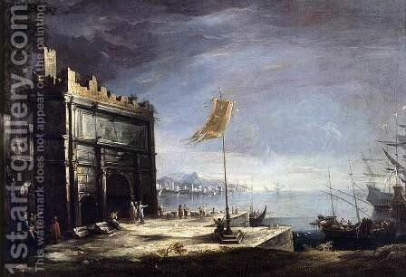 Capriccio of a Port Scene with a Classical Arch 1720s by Antonio Stom - Reproduction Oil Painting