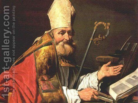 St Ambrose by Matthias Stomer - Reproduction Oil Painting