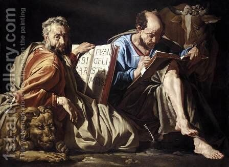 The Evangelists St Mark and St Luke c. 1635 by Matthias Stomer - Reproduction Oil Painting