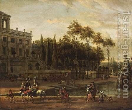 Italianate Park Landscape 1687 by Abraham Storck - Reproduction Oil Painting