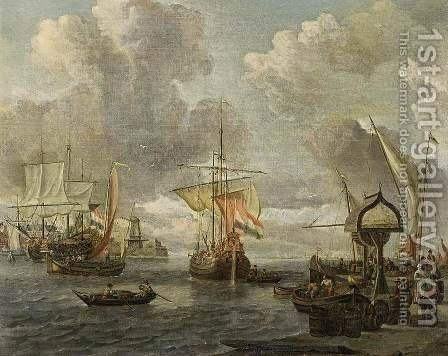 View of a Harbour on the Zuiderzee 1680s by Abraham Storck - Reproduction Oil Painting