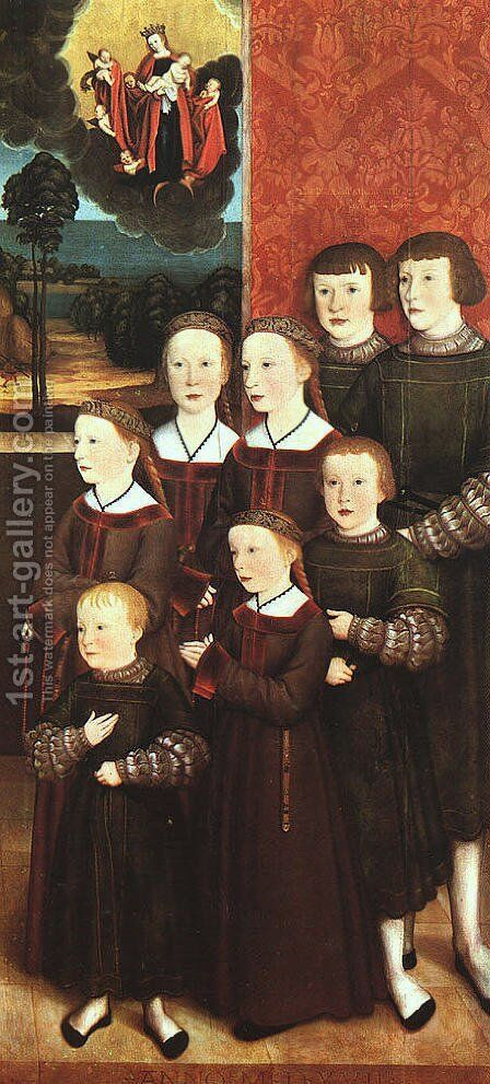 Portrait of Conrad Rehlinger and his Children (detail) 1517 by Bernhard Strigel - Reproduction Oil Painting