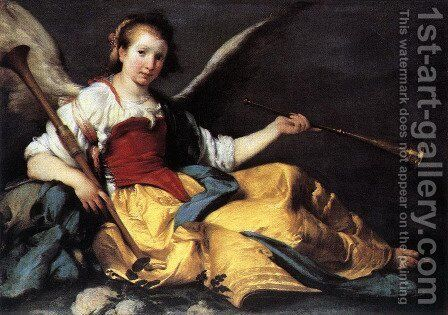 A Personification of Fame by Bernardo Strozzi - Reproduction Oil Painting
