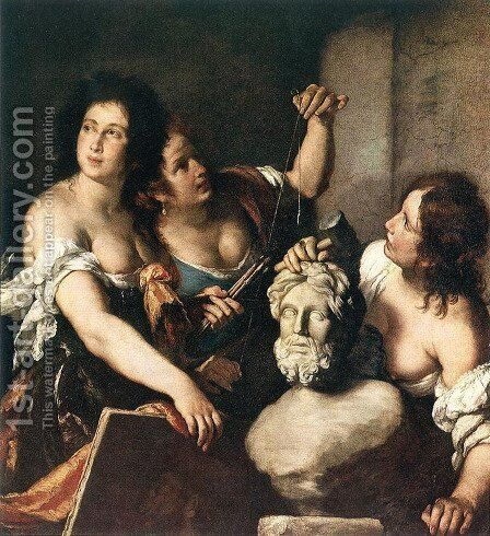Allegory of Arts c. 1640 by Bernardo Strozzi - Reproduction Oil Painting