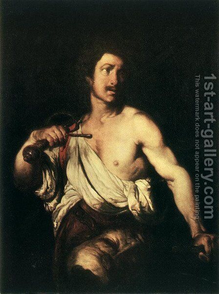David with the Head of Goliath c. 1635 by Bernardo Strozzi - Reproduction Oil Painting