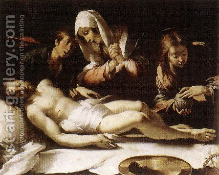 Lamentation over the Dead Christ 1615-17 by Bernardo Strozzi - Reproduction Oil Painting