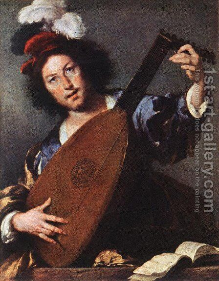 Lute Player 1630-35 by Bernardo Strozzi - Reproduction Oil Painting