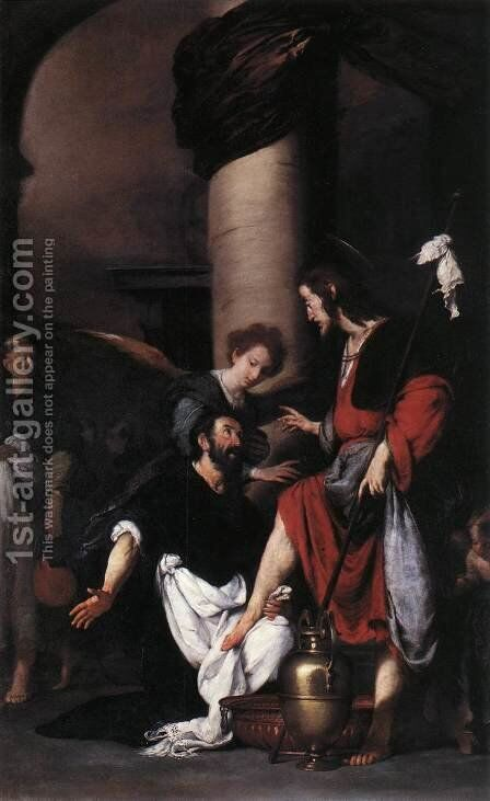 St Augustine Washing the Feet of Christ 1629 by Bernardo Strozzi - Reproduction Oil Painting