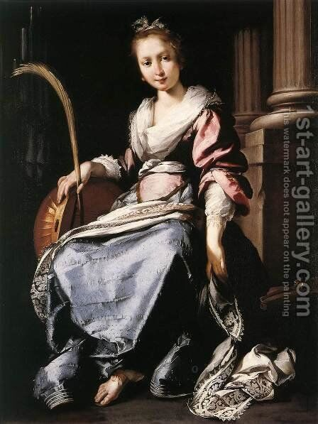 St Cecilia 1620-25 by Bernardo Strozzi - Reproduction Oil Painting