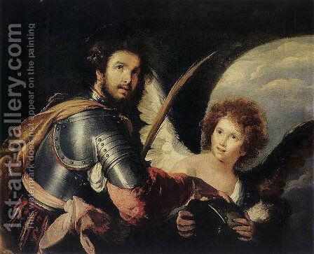 St Maurice and the Angel c. 1635 by Bernardo Strozzi - Reproduction Oil Painting