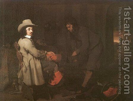 Seated Man with a Youth & a Servant in an Interior by Michael Sweerts - Reproduction Oil Painting
