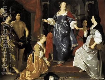 The Maid of Leiden Welcomes 'Nering' 1651 by Abraham van den Tempel - Reproduction Oil Painting