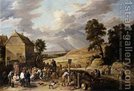 Peasants Dancing outside an Inn 1660s by David The Younger Teniers - Reproduction Oil Painting