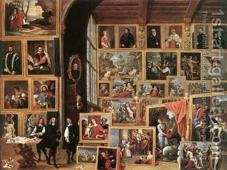 The Gallery of Archduke Leopold in Brussels 1640 by David The Younger Teniers - Reproduction Oil Painting