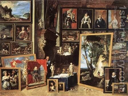 The Gallery of Archduke Leopold in Brussels 1641 by David The Younger Teniers - Reproduction Oil Painting