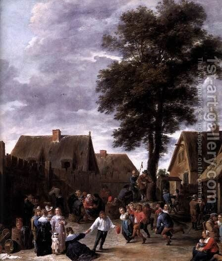 The Kermis at the Half Moon Inn (detail) 1641 by David The Younger Teniers - Reproduction Oil Painting