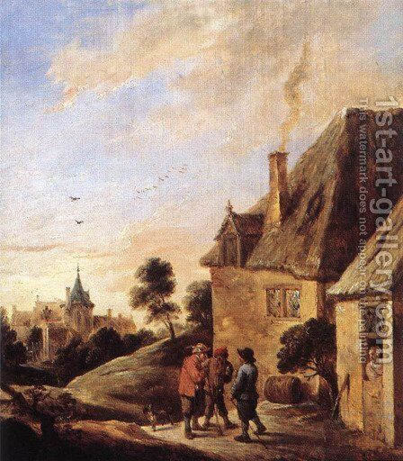 Village Scene (2) by David The Younger Teniers - Reproduction Oil Painting