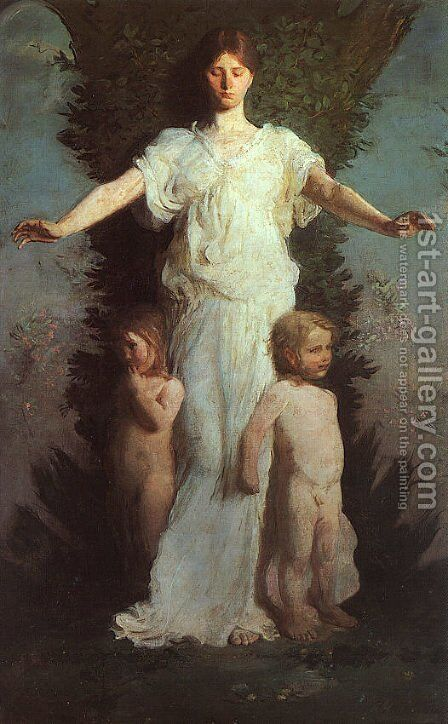 Caritas  1894-95 by Abbott Handerson Thayer - Reproduction Oil Painting