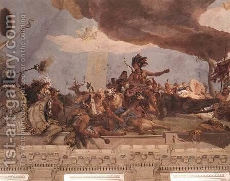 Apollo and the Continents (America, left-hand side) 1752-53 by Giovanni Battista Tiepolo - Reproduction Oil Painting